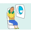 Tourist sleep and dreaming in airplane chair vector image