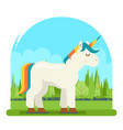 unicorn fantasy horse wood background cartoon vector image vector image