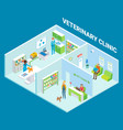veterinary clinic cutaway interior flat vector image