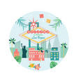 welcome to las vegas poster with landmarks vector image