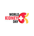 world kidney day vector image vector image