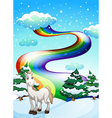 A horse in a snowy area and a rainbow in the sky vector image