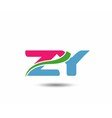 Alphabet Z and Y letter logo vector image vector image