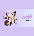 audio recording horizontal banner vector image
