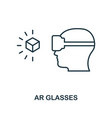 augmented reality glasses icon monochrome style vector image