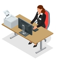 Business woman looking at the laptop screen vector image