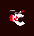 canada initial letter country with map and flag vector image