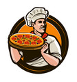 chef holding a tray of pizza fast food vector image vector image