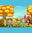 cute children holding hands together in farm backg vector image vector image