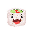 cute roll character sushi with funny face cartoon vector image vector image