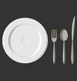 Dining Set Plate Fork Spoon Knife vector image