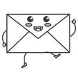 envelope mail kawaii character vector image vector image