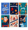 flat halloween cards collection vector image vector image