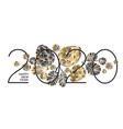 gold and black pine cone new year composition vector image vector image