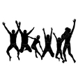 Group people jumping holiday sea silhouette vector image