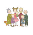 happy family parents with children cute cartoon vector image