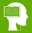 head with open book icon green vector image vector image