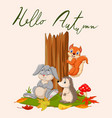 hello autumn background with wild animals vector image vector image