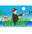 hunter with a gun and duck vector image