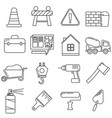 icons on the theme of construction supplies on a vector image vector image