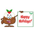 jolly christmas pudding character vector image vector image