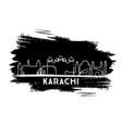 karachi pakistan city skyline silhouette hand vector image vector image