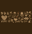 large set drawn logos and coffee vector image