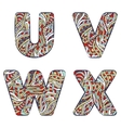 Letters U V W X Set colorful alphabet of vector image
