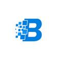 logo letter b blue blocks cubes vector image