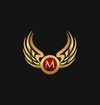 luxury letter m emblem wings logo design concept vector image vector image
