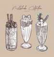 milkshake collection hand draw sketch vector image