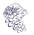 monochrome woman face retro style vector image