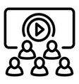 multiple video viewing icon outline style vector image
