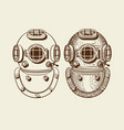 old style diver helmets with and without engraving vector image