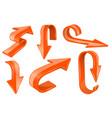 orange bold arrows 3d shiny signs vector image vector image