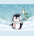 penguin in scarf and headphones winter landscape vector image vector image
