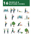 people and nature icons vector image vector image