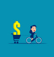 person ride a bike carrying money concept vector image vector image