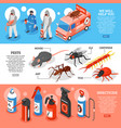 pest control isometric horizontal banners vector image vector image