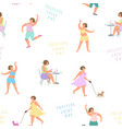 positive women play sports lead an active vector image vector image