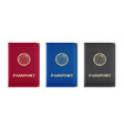red blue and black passport vector image vector image
