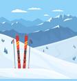 red ski equipment at ski resort snowy vector image vector image