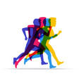 running marathon people run in different vector image vector image