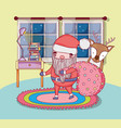 santa claus with bag and deer in the house vector image vector image