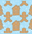 seamless pattern gingerbread man house and tree vector image vector image