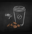 set coffee paper cup with pile beans vector image vector image