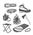 set of camping equipments vector image vector image