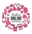set online fashion shopping icons vector image vector image