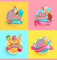 set summer ice creams labels vector image vector image