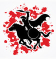 spartan warrior riding horse with sword and shield vector image vector image